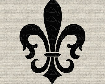 French Fleur de Lis French Decor Wall Decor Art Printable Digital Download for Iron on Transfer Fabric Pillows Tea Towels DT317