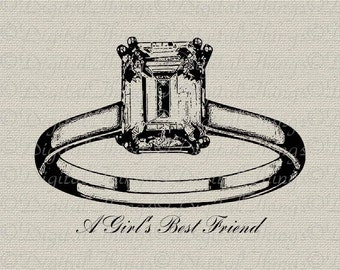 Diamond Ring Jewelry Art Girl's Best Friend Wall Decor Art Printable Digital Download for Iron on Transfer Fabric Pillows Tea Towels DT135