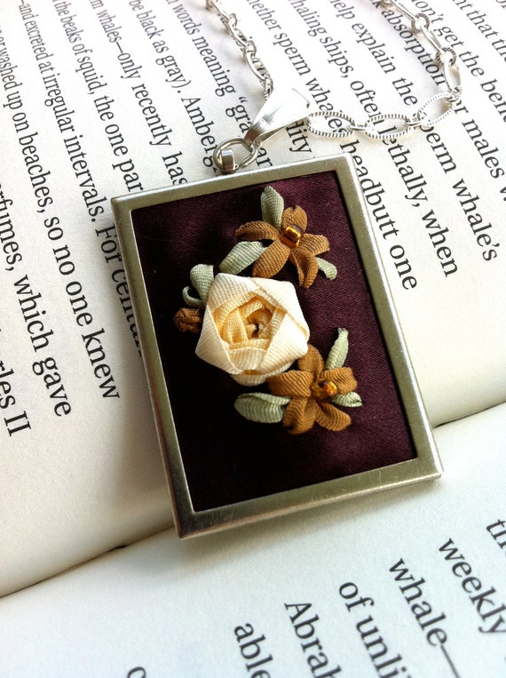 Deep Purple and Cream Embroidered Silk Ribbon Rose Pendant - Silk RIbbon Embroidery by BeanTown Embroidery