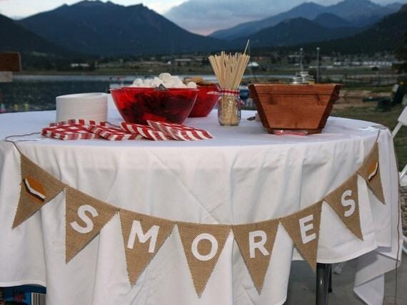 Smores Burlap Banner, S'more Bar, Dessert Bar, Bunting, Garland