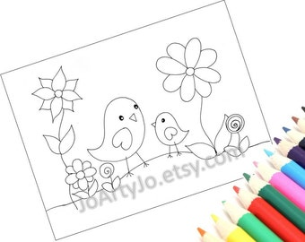 Coloring Page Printable PDF Instant Download, Cute Birds- Page 1