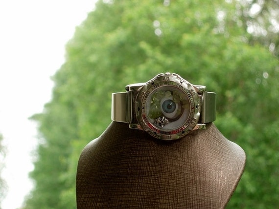 He is Staring at me, Blue Evil Eye Skull Peridot Steam Punk bangle cuff stainless steel watch strap with gift bag OOAK