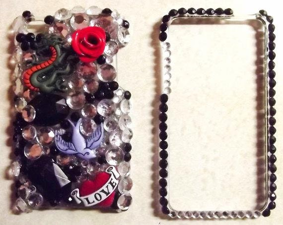 ipod 4 case, bling ipod case, 3d case, custom case.   rhinestones deco blinged out.Inspired by Ed Hardy by Luminousbling