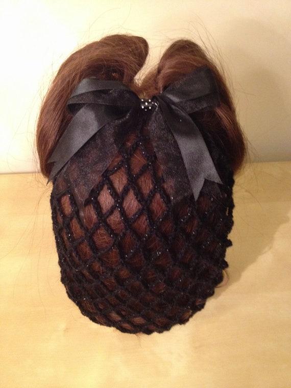 Black sparkle crochet hair snood