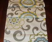 Waverly Pom Pom Play Spa Table Runner Big Bold Flowers Blue Yellow Green Putty Floral