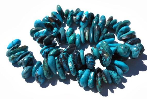 1 Strand Turquoise Stone Teardrop Beads Turquoise Blue, Green, Black