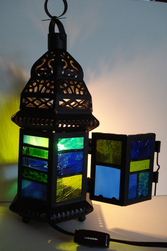 Miniature Lantern Style Lamp with a Combination of Textured Blue and Green Glass