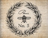 Antique Bee Wreath Paris France Digital Download for Dictionary Pages, Papercrafts, Transfer, Pillows, etc.Burlap No 7787