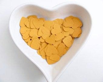 Confetti - 200 cardboard hearts - Mustard  - Baby shower - Wedding - Flavors - Love - Spring - Summer