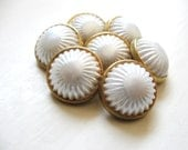 White and Gold buttons set of seven - BonitaBellitaEtc