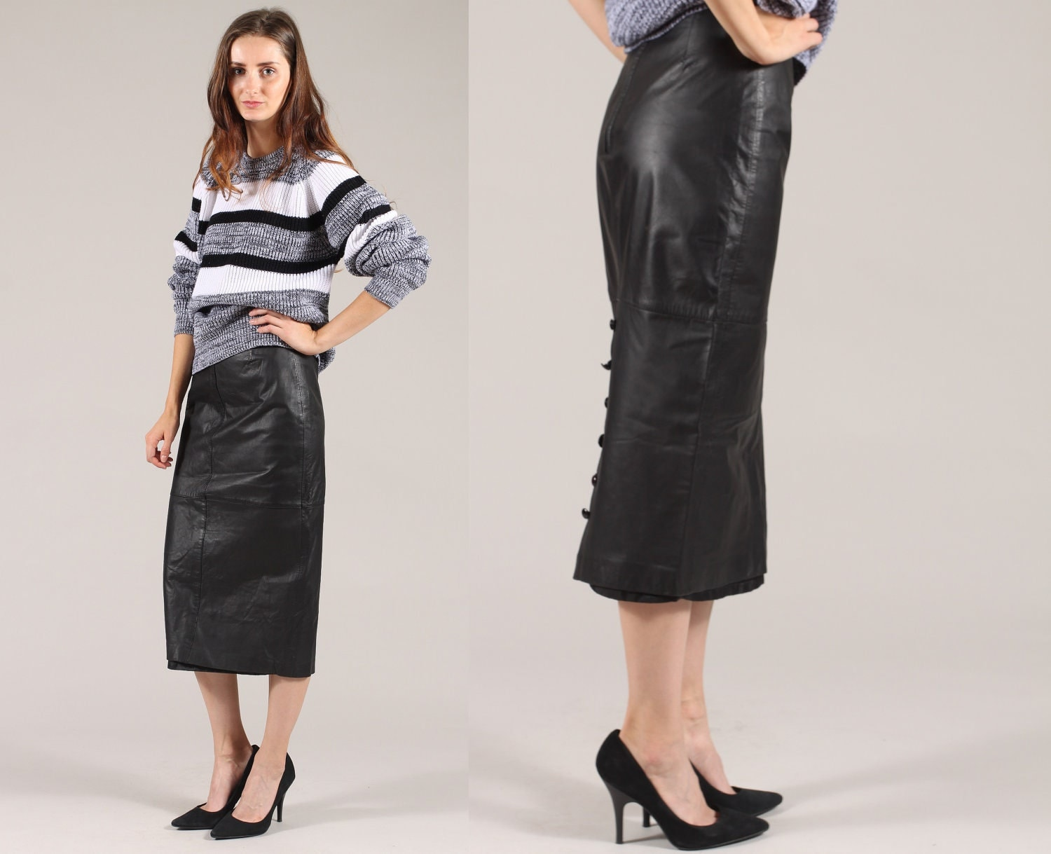 black leather skirt // vintage 80s // midi pencil // high