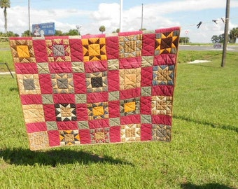 CLEARANCE,Country Quilt, Antique Bedding, Home Decor ,Vintage Star, Quilt Block Design