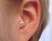 The Fleur Left-Ear Tragus Cuff Silver Ear Cuff wire fleur de lis ear cuff loop swirl curly earring alternative