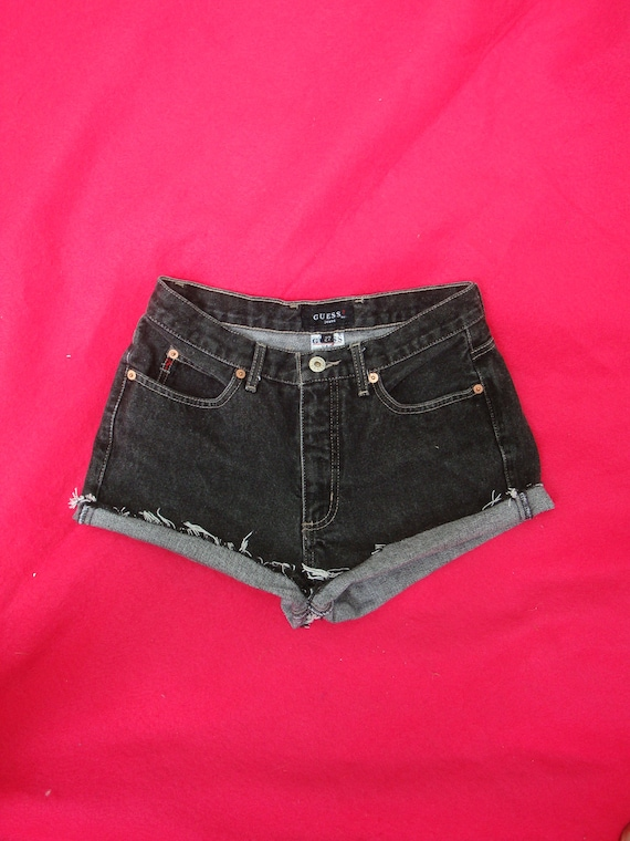Black GUESS Vintage High Waisted Denim Shorts Cut Off Guess Jean Shorts - Indie Boho Chic Upcycled Retro. Nice Rocker Chick - Size 27 w