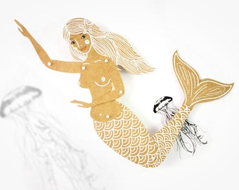 Mermaid sirene articulated art paper doll, hand painted paper puppet, gift for her, greeting card, paper dolls by dubrovskaya