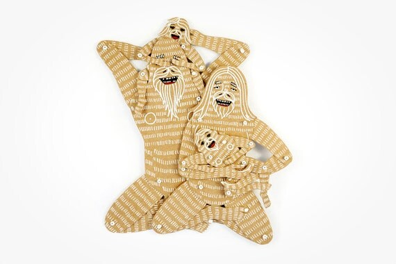 Yeti Family (4 members) - Articulated Art Paper Dolls by Dubrovskaya. Handmade and hand painted gift.