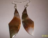 Vintage Abalone Earrings- Stone, brown, tan, silver, fish hooks, ear wire, pearl