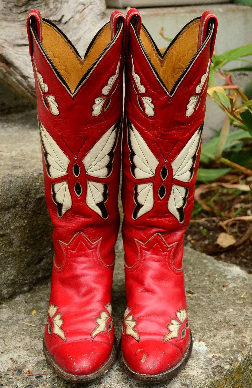 70 S Tony Lama Ruby Butterfly Cutout Cowboy By