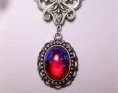 Dragon's Breath Necklace - Fire Opal Necklace - Victorian Necklace - Art Nouveau Pendant