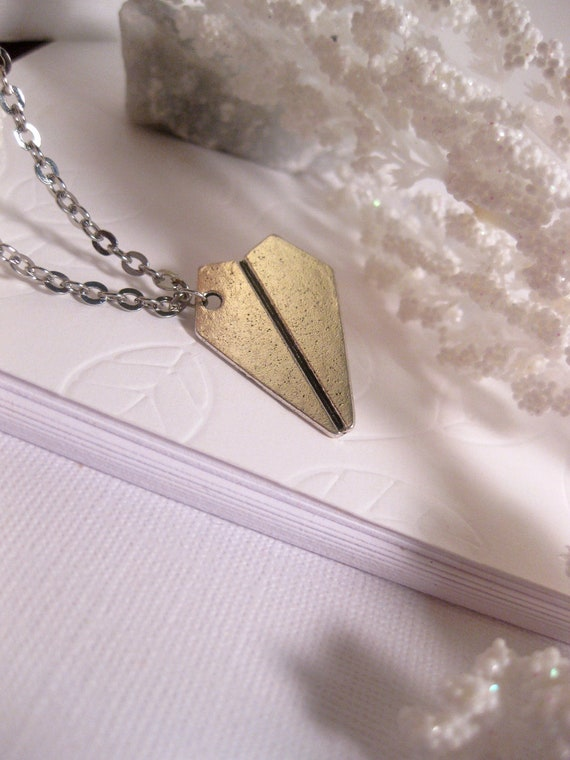 Airplane Necklace Inspired By Harry Styles, One Direction - Paper Airplane - origami