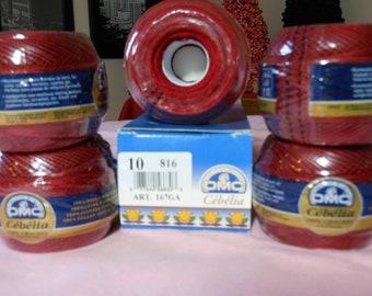 DMC Cebelia Burgandy (maroon)  colored crochet thread