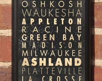 Wisconsin WI Cities Subway Scroll Wall Art Sign Plaque Gift Present Home Decor Custom Personalized Color Vintage Style Green Bay Antiqued