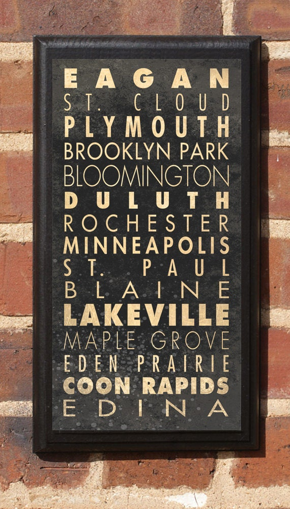 Cities of Minnesota Subway Scroll Vintage Style Wall Plaque / Sign
