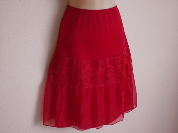 Vintage Slip Red full skirt can can chiffon layer w/ lace L
