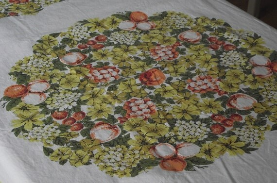 Vintage tablecloth white cotton autumn fruit 46 x 52 cottage chic