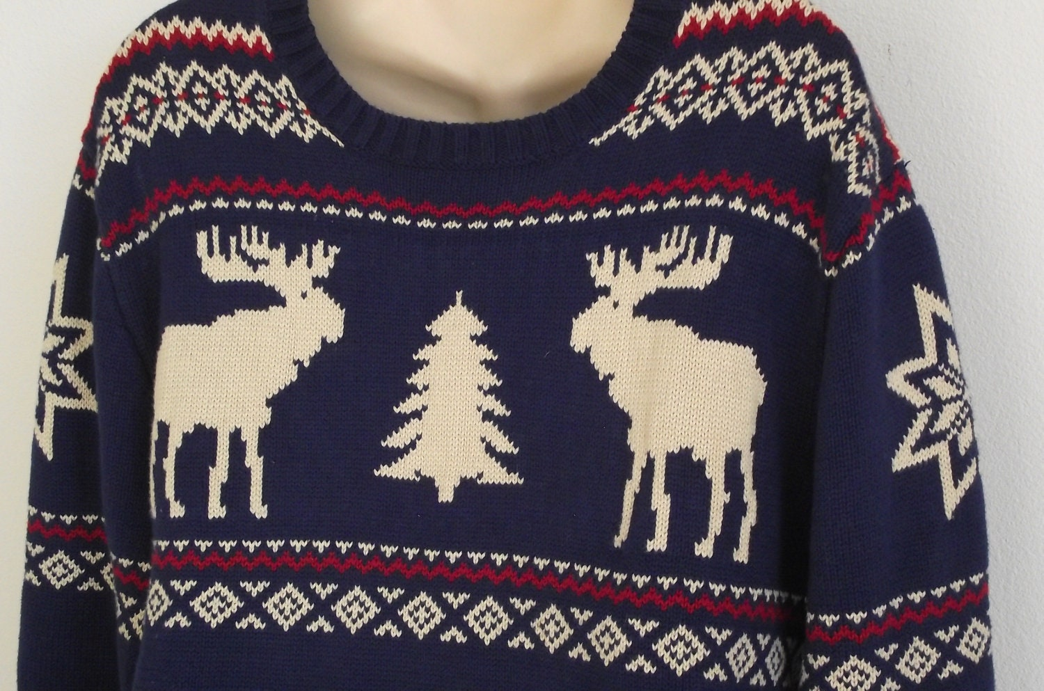 Vintage Christmas Sweater Moose Nordic Trees Men Women L XL