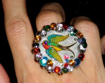 GLASS POLYMER CLAY Jewelry Clay Ring Swallow Tattoo Art Ring Bird Ring colorful faux jewels and studs embellished polymer clay ring