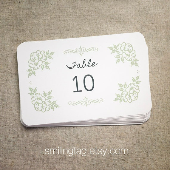 Items Similar To Vintage Inspired Wedding Table Number Cards