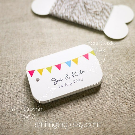 Personalised Wedding Gift Tags : Happiness Bunting Gift Tags Personalized Wedding Favor Tags
