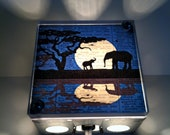 Mother and Baby Elephant Safari Moon Reflection - Repurposed Vintage Dictionary Print Design Night Light