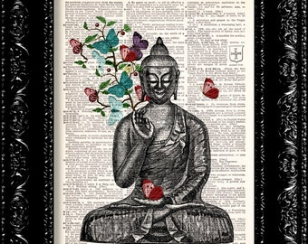 Buddha DICTIONARY Print, Upcycled Vintage Book Page, Buddha Butterflies Wall Art - Book Print Page recycled Book Art Buy 2 Get FREE one