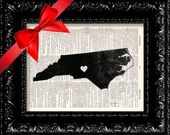 North Carolina Family State Map - Map Art Print Personalized - Dictionary Print - Book Print - Book Page - Vintage Book Art - North Carolina