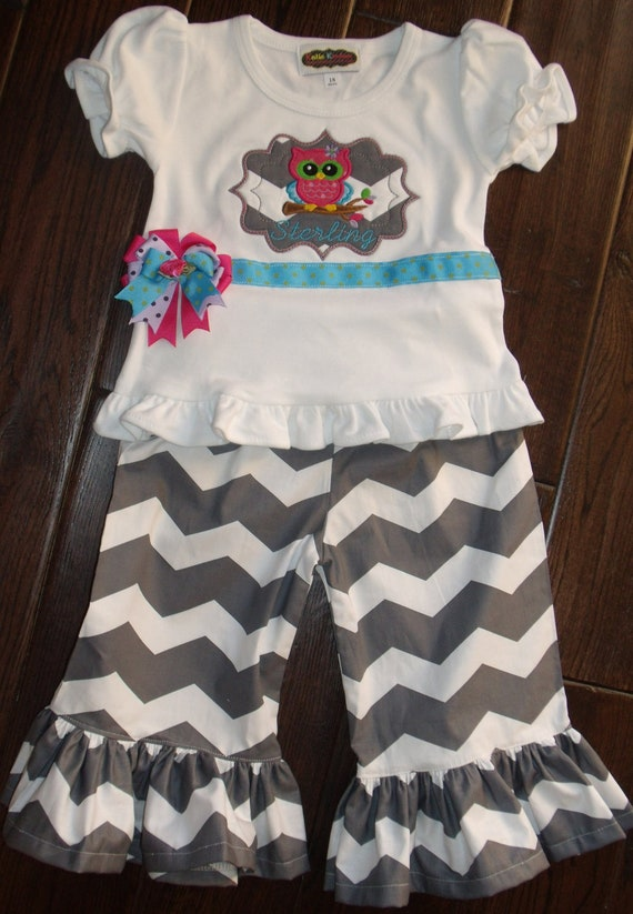 Boutique Owl Grey Chevron Pant and Ruffle Shirt Set Sizes 3M to 5T larger size upon request