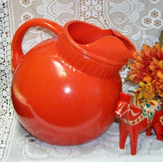 RESERVED for Becca - Fab 40's Art Deco orange glass round ball jug pitcher