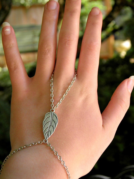 RESERVED Silver Slave Bracelet Ring Leaf Charm Ring Bracelet Hand Harness