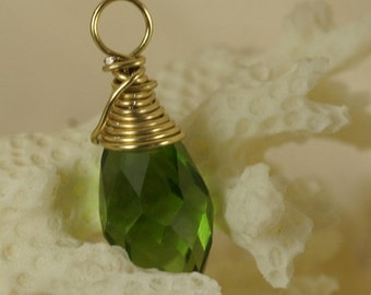 14K Gold Filled Wire Wrapped Pendant Wire Wrapped Briolette