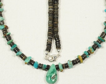 Turquoise and Shell Necklace Handmade Necklace Natural Gemstone jewelry
