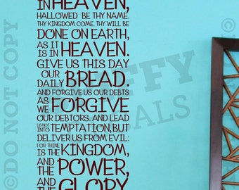 The Lord's Prayer Bible King James Matthew 6:9-13 - Removable Vinyl Wall Decal