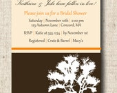 Printable Autumn Fall Bridal Shower Invitation Card - Custom