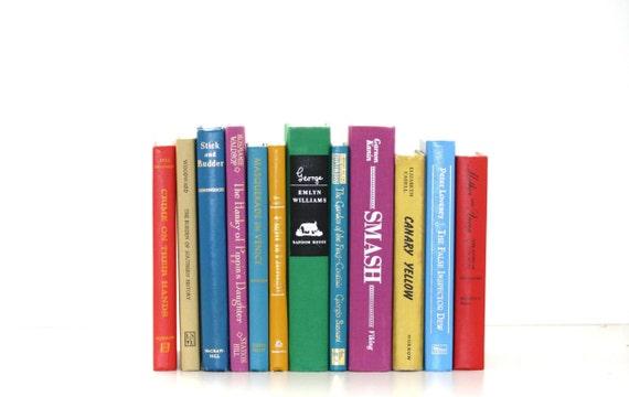 Rainbow 12 Book Collection Interior Design Vintage Book Decor Black Friday Etsy Sale