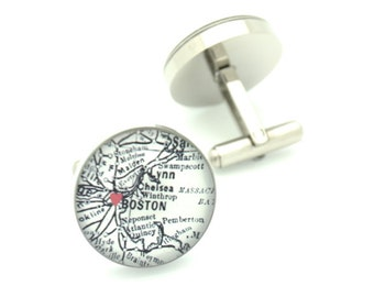 I Heart Boston Map Cufflinks - vintage black and white map - silver jewelry for men