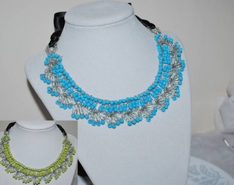 Crocheted Wire Lace Necklace, Crochet Statement Necklace, Handmade Wire Lace Statement Necklace, Bib Necklace, Crochet Wire Jewelry
