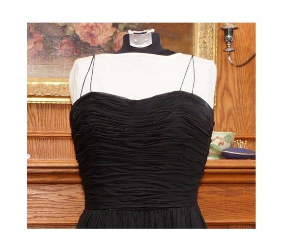 50s Black evening dress / 1950s ostrich feather hem