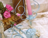 Vintage Shabby Cottage Filigree Aqua  Metal Sconce Set Homco Eames