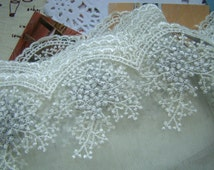 Lace Fabric Trim Silver Lace Trim, Off White Silver Thread Snowflake Leaf Flower Floral Lace Fabric Cloth TRIM 4 Inches