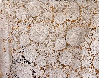 White Wedding Lace Fabric, Cotton Lace Fabric, Rose Pattern Lace Fabric , Wedding Gown Lace, Costume Design Lace